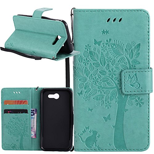 Galaxy J7 V Case, Galaxy J7 Perx Case, Linkertech [Kickstand] PU Leather Wallet Flip Pouch Case Cover With Wrist Strap & Card Slots For Samsung Galaxy J7 2017 / J7 Sky Pro / Galaxy HALO (B-7)