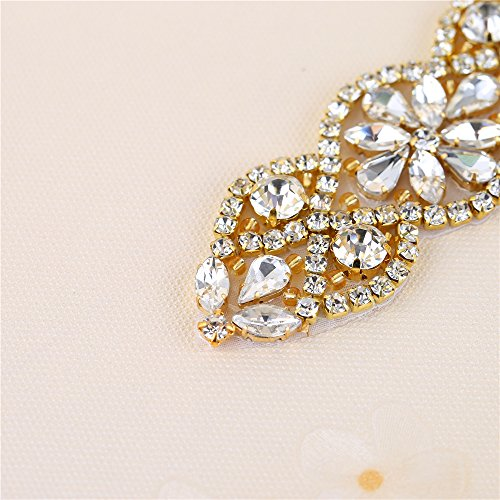 (2 piezas) Rhinestone Applique con Cristales y Perlas para el Vestido Headpieces Bolsas Cinturon para Vestido Novia, Cinturones Boda Oro-018