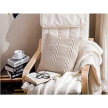 dream_home Knitted Nordic Style Throw Pillowcase - Square Sofa Cushion Cover Home Car Decor 17.7 x 17.7 Inch Cream