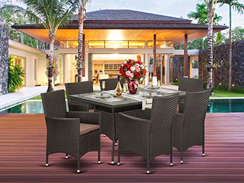 Garden and Outdoor 7 pc Backyard Wicker Dining Set for 6 in Dark Brown Finish patio dining sets