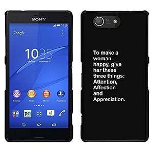 // PHONE CASE GIFT // Duro Estuche protector PC Cáscara Plástico Carcasa Funda Hard Protective Case for Sony Xperia Z3 Compact / happy attention woman inspiring love /