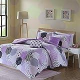 Urban Habitat Kids Trixie Full/Queen Comforter Sets for Girls - Purple, Geometric – 5 Pieces Kids Girl Bedding Set – Cotton Childrens Bedroom Bed Comforters