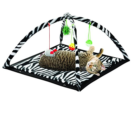 - Petty Love House Zebra Cats Get Exercise & Stay Active Toys,cat Activity Tent with Hanging Toy Balls Furniture