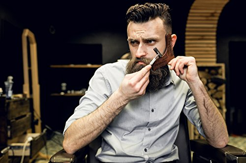 Best Beard Shaping Tool 3in1: Wooden Beard Shaper, Pocket Comb and Hair Styler – Perfect Beard Kit Comb with Pencil & Beard Guide
