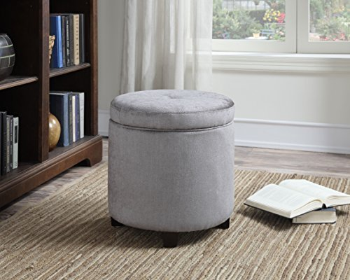 Christies Home Living Small Round Spacious Contemporary Upholstered Polyester Fabric Storage Ottoman, Gray (Polyester Ottoman Fabric)