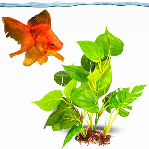 SunGrow Plastic Leaf Plant for Goldfish, 10 Inches Tall, Ultra-Realistic Fin-Friendly Artifical Plant for Hide-and-Seek and Beauty, Perfect in Any Aquarium, Hiding Spot for Fish, Reptiles, Amphibians