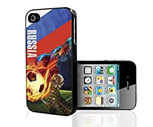 White, Red, Blue Grunge Russia Team Flag with Colorful Fiery Soccer Ball Hard Snap on Phone Case (iPhone 4/4s) by icecream design