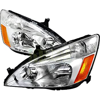 Spec-D Tuning 2LH-ACD03-RS Honda Accord 2/4d Chrome Crystal Headlights Clear Head Lamps