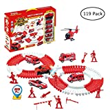 JollySweets Fire Rescue Car Race Track Set for Kids 119 Pcs, Race Track Can Bend, Flex, Pretent Play...