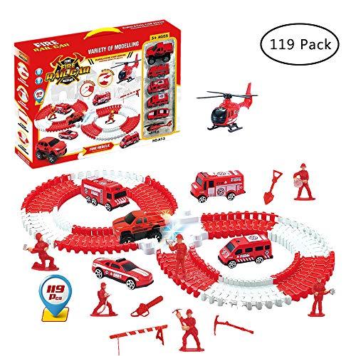 JollySweets 消防車レーストラックセット 子供用 119ピース レーストラック缶ベンド フレックス ごっこ遊び用おもちゃ 魅力的な箱入り 男の子と女の子へのギフトに最適