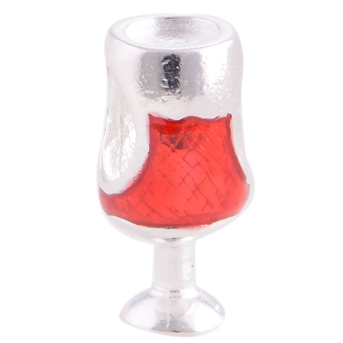 The Kiss Red Wine & Glass Cup Red CZ Christmas Celebration Time Holiday 925 Sterling Silver Bead Fits European Charm Bracelet