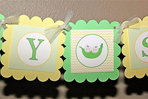 Green and Yellow Two Peas in a Pod Baby Shower Banner with Sweet Peas theme images, Customizable Baby Shower Two Peas in a Pod Banner, Baby Boy or Baby Girl Baby Shower Decorations in Yellow and Green -