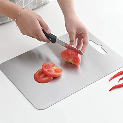 YINGJEE Tagliere da Cucina in Acciaio Inox 304 con Foro per Appenderla per Frutta Verdura Carne Rettangolare Tagliere Cucina