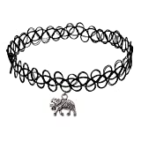 Longil Women Vintage Black Gothic Stretch Elastic Double Line Henna Tattoo Choker Collar Necklace with Elephant Pendant Charm Hippy Popular for 80s 90s