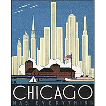 Vintage Art Deco Giclee Poster Print CHICAGO USA TRAVEL
