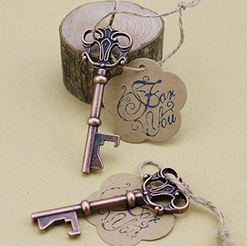 50pcs Wedding Favors Skeleton Key Bottle Opener with Escort Tag Card For You Stamp by DLWeddingg