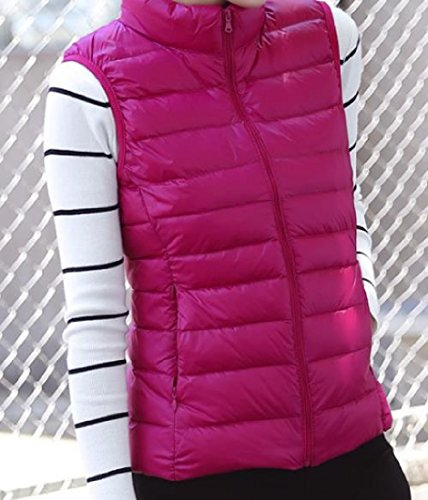 Sleeveless Womens Jacket Parka Rose up Pockets Collar Stand Red Solid Zip AngelSpace 7RtZxwdq7