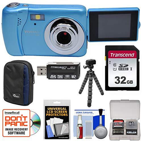 Blue Vivicam Vivitar (Vivitar ViviCam VXX14 Selfie Digital Camera (Blue) with 32GB Card + Case + Flex Tripod + Reader + Kit)