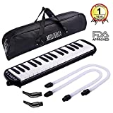 CAHAYA Melodica FDA Approved 2 Double Mouthpieces Tube Sets Pianica Melodicas Piano Style 32 Key Portable with Carrying Bag [New Version] (Black)