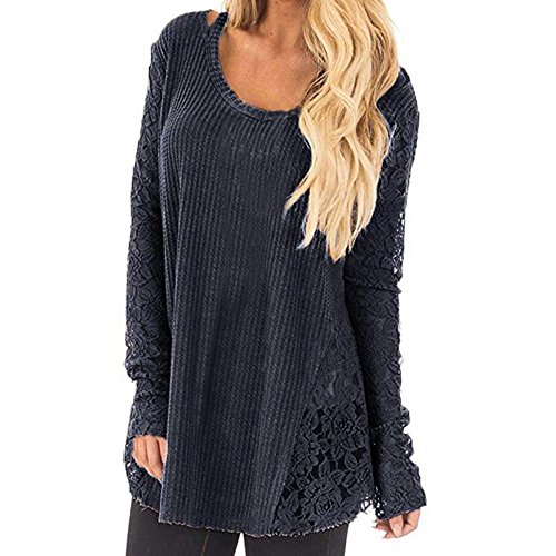 NRUTUP Women Lace Patchwork Sexy Long Casual Sleeve Knitted Crochet Tops Pullover Blouse(XS,Dark ()
