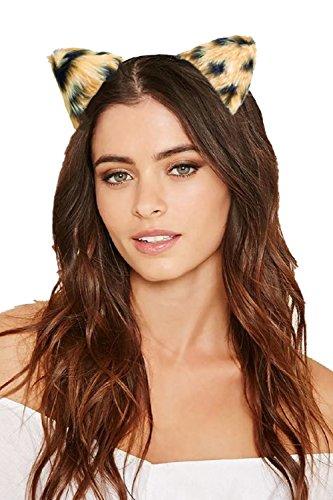 JeVenis Luxury Lace Cat Ears Headband Sexy Fur Headwear Party Costume Hat (One Size, Leopard - Brown)