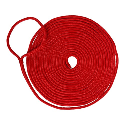 Amarine Made 1/2 Inch 50 FT Double Braid Nylon Dockline Dock Line Mooring Rope Double Braided Dock Line (Red) ()