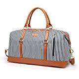 Women Weekender Travel Bag Canvas Large Overnight Duffel Bag Carry On Tote Gym Bag PU Leather Bottom with Shoulder Strap, 45L (Blue)