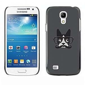 KOKO CASE / Samsung Galaxy S4 Mini i9190 MINI VERSION! / hipster french bulldog art moustache glasses / Slim Black Plastic Case Cover Shell Armor