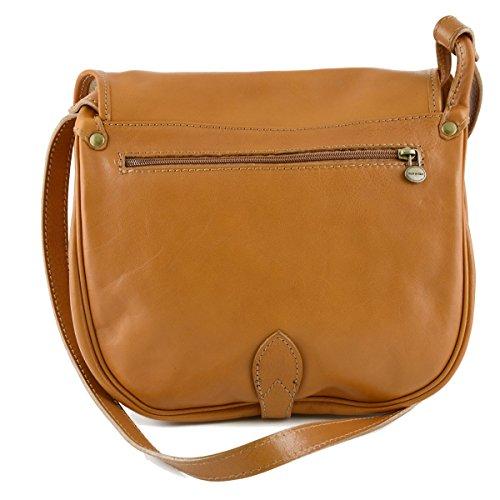 Damen Leder Schultertasche Farbe Honig - Italienische Lederwaren - Damentasche