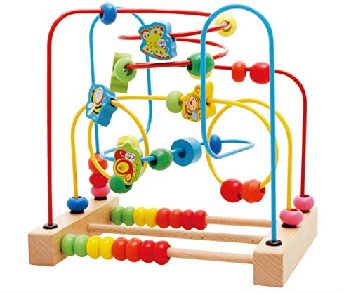 Kunmark Wooden Fruits Insect Bead Maze Roller Coaster Activity Cube Educational Abacus Beads Circle Toys Training Child Attention Count and Grasping Ability (Insect Bead)