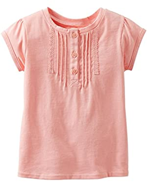 Baby Girls' Lace Tee (Baby) - Peach - 6 Months