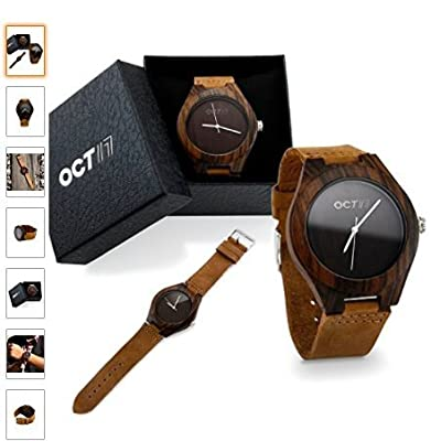 Oct17 Men's Walnut Wood Fashion Bamboo Wooden Watch Quartz Genuine Leather Japanese Quartz Movement Casual Brown Wristwatches