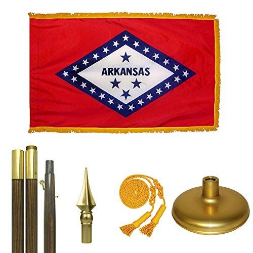 Arkansas Flag Premium Flag Kit Nylon Pole Hem and Fringe 6 ft x 1 in Oak Pole Brass Screw Joint Cast Iron Base Aluminum Spear 2 ft x 3 ft (Cast Iron Spear)