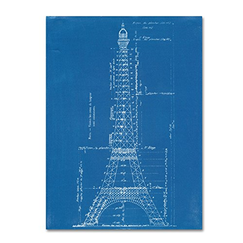 (Eiffel Tower Blueprint by Vintage Apple Collection, 24x32-Inch)