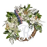 FAVOWREATH 2018 Vitality Series FAVO-W109 Handmade 14 inch Green Hydrangea,R Letter,Leaf Grapevine Wreath for Summer/Fall Festival Front Door/Wall/Fireplace Every Day Nearly Natural Home Hanger Decor