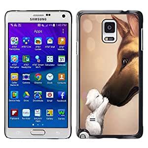Qstar Arte & diseño plástico duro Fundas Cover Cubre Hard Case Cover para Samsung Galaxy Note 4 IV / SM-N910F / SM-N910K / SM-N910C / SM-N910W8 / SM-N910U / SM-N910G ( Cat Dog Friendship Love Cute Sweet Kitten)