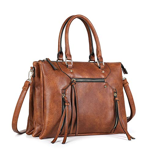 (Women Briefcase Shoulder Bag Soft Faux Leather Triple Zipper Pocket Ladies Large Crossbody Bag with Tassel (Brown))
