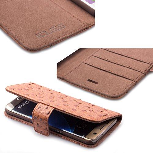 Samsung Galaxy S7 EDGE | iCues Maraba bolsa de Carbono Azul | ranura para tarjetas de cuero de alta calidad soporte función Stand - libro con bisagras de la manga bolsillo del teléfono celular bolsa p Ostrich caramelo