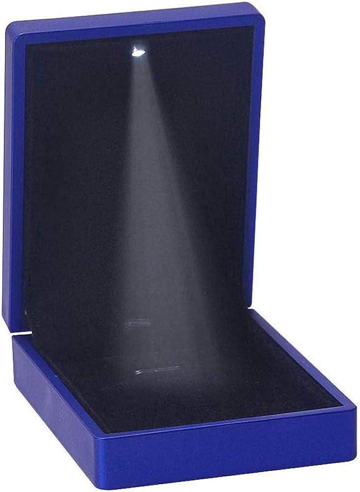Caja para Collares joyer/ía Caja Colgante con luz LED Caja de Almacenamiento para proposici/ón YuamMei Compromiso