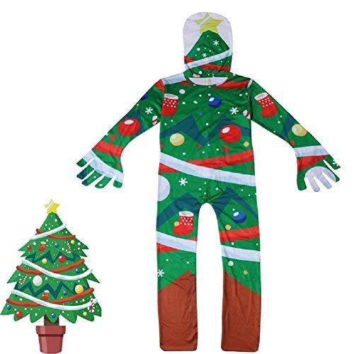 Kids Christmas Tree Costume Onesie Child Xmas Cosplay Party Jumpsuit Bodysuit -
