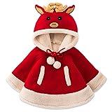 Adorable Reindeer Baby Clothes Cloak Baby Kids Warm Hood Cape Coat (130cm)