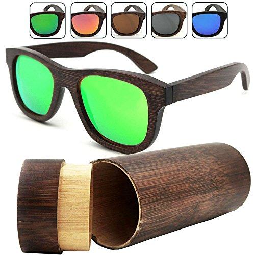 75ead8778b iSunHot 1-Pack Gafas de sol de Madera de Bambú con Verde Lente Polarizada  de Protección UV en Vintage ...