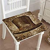 Mikihome Classic Decorative Chair pad Seat Steampunk Top Hat as a Science Fiction Made of Metal Copper Gears and Cogs Cushion with Memory Filling 18''x18''x2pcs