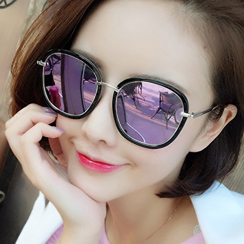 WWF Sol Gafas Onda Sol Cara polarizadas Plata 15 de Retro púrpura de Femeninas 5 6cm Gafas Harajuku Redonda Gafas rCSrHwq
