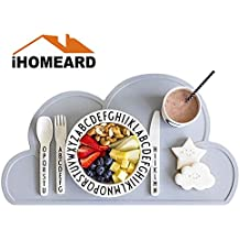 Kids Placemat, Cloud Placemat , Placemat For Kids Silicone Waterproof Baby Placemat Meat Meal Mat Table Mat Cute Portable Food Mat Travel Placemat for Toddler, Non Slip Placemat Easy Clean(Light Gray)