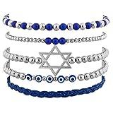 Lux Accessories Silvertone Jewish Hanukkah Arm Candy Set (5PC)