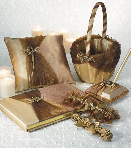 Bronze Elegance Wedding Collection Guest Book, Pen, Ring Pillow, Basket, Garters 5 piece Set (Book Basket Collection Pen)