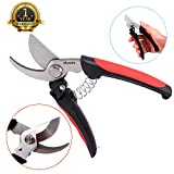Pruning Shears, Beyond Bypass Pruners Garden Scissors Grass Clippers Tree Trimmer with Saftey Lock, 7 inch,Premium Heavy Duty Stainless Steel Ultra Sharp Multi-purpose Hand Pruning Scissors Snip Leaf Trimmer Branch Clippers with Comfortable Handle for Garden, Black & Red
