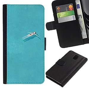 KingStore / Leather Etui en cuir / Samsung Galaxy Note 3 III / Bastante Piscina Océano Relax