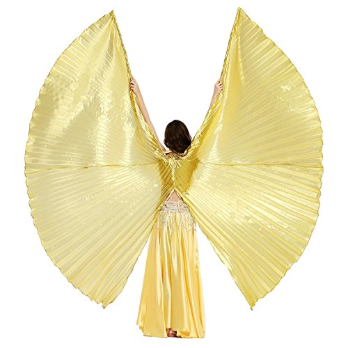 [Dance Fairy Opening Belly Dance Isis Wings,Golden] (Cabaret Belly Dancing Costumes)